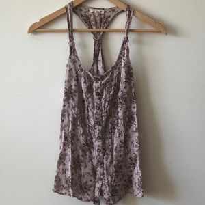 Mine/Anthropologie Floral Razor Back Camisole Tank
